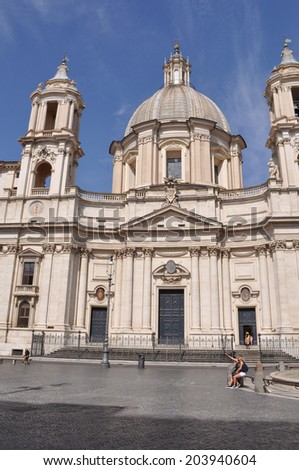 ROME, ITALY - JUNE 24, 2014: Tourists visiting the Church of Sant Agnese
