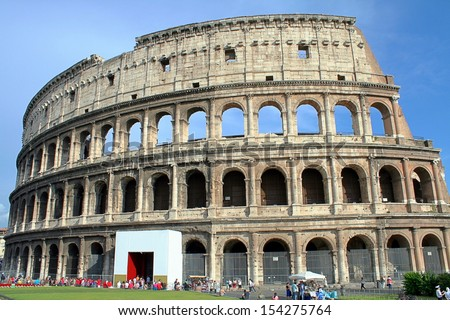 Rome, Italy- June 5, 2013: Tourists visiting the Colosseum  in Rome, Italy on the 5th June 2013.
