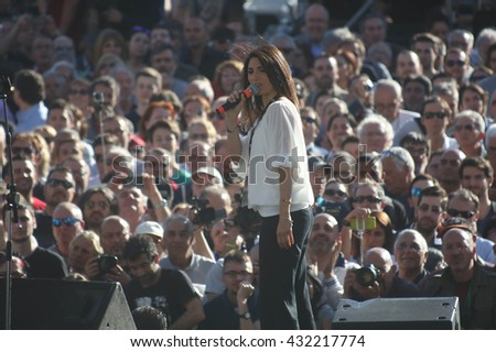 ROME, ITALY - 3 June 2016: Virginia Raggi  M5S, candidate for mayor in Rome, attends the closing act of the electoral campaign at Piazza del Popolo in Rome. on June 5, 2016.