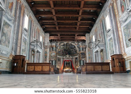 ROME, ITALY - JUNE 6, 2016: wood ceiling inside the romanesque San Vitale Church in via Nazionale