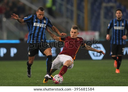 ROME, ITALY - MARCH 2016 :  Biabiany and Digne in action during fotball match  serie A  League 2015/2016 between A.s. Roma  vs inter  at the Olimpic Stadium  on march 19, 2016 in Rome.