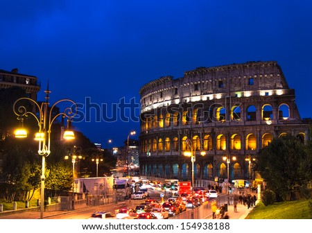 ROME, ITALY - MARCH 20: Image of Colosseum, taken on March 20, 2009, in Rome, Italy. Colosseum, known as the Flavian Amphitheatre, an elliptical antique construction from 1th century, in Rome, Italy. - stock photo