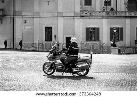 Rome, Italy - March 15,2006 : Motorcycle policeman on duty in Quirinale square, Rome
