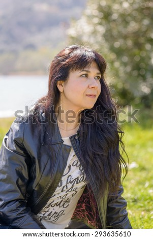 Rome, Italy - March 24, 2015: Portrait of a girl at castel Gandolfo Lake, a little town near Rome Italy
