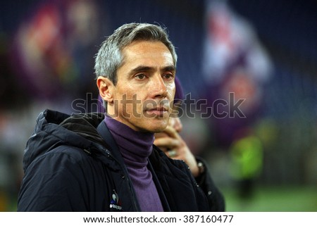 ROME, ITALY - march  2016 : Sousa  during fotball match  serie A  League 2015/2016 between A.s. Roma  vs Fiorentina  at the Olimpic Stadium  on march 4, 2016 in Rome.