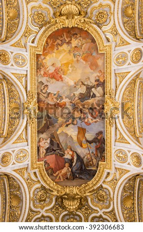 ROME, ITALY - MARCH 9, 2016: The Apotheosis of St Louis vault fresco (1756) by Charles Joseph Natoire (He is famous for his paintings at Versailles) in church Chiesa di San Luigi dei Francesi.