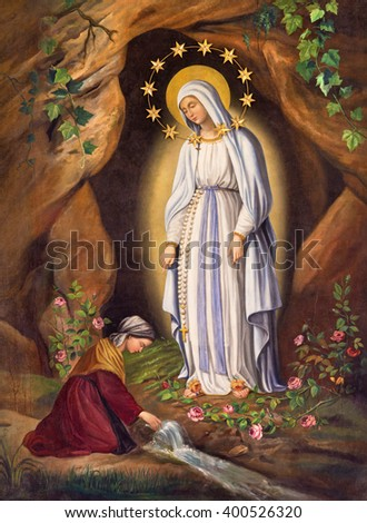 ROME, ITALY - MARCH 9, 2016: The Appearance of Virgin to st. Bernadette in Lourdes by unknown artist (1873) in church Chiesa di Santa Maria in Aquiro.