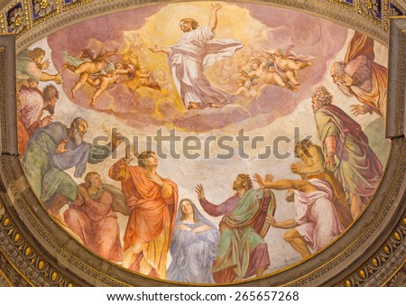ROME, ITALY - MARCH 27, 2015: The Ascension of the Lord fresco in church Santa Maria dell Anima by Francesco Salviati from 16. cent. - stock photo