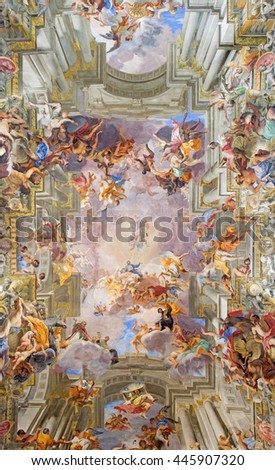 ROME, ITALY - MARCH 10, 2016: The central part of vault baroque fresco The Apotheosis of St Ignatius by jesuit frater Andrea Pozzo (1685) in church Chiesa di Sant'Ignazio di Loyola.