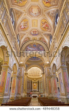 ROME, ITALY - MARCH 9, 2016: The church Chiesa di Santa Maria in Aquiro with the ceiling frescoes by Cesare Mariani from (1826 - 1901) in neo-mannerist style.
