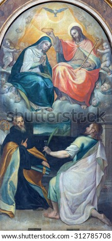 ROME, ITALY - MARCH 26, 2015: The Coronation of Virgin Mary paint from side chapel in church Chiesa di Santo Spirito in Sassia by Cesare Nebbia (1512 - 1590).