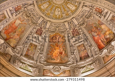ROME, ITALY - MARCH 27, 2015:The fresco in the side apse of Chapel of St Paul the Apostle (scene from the live of the Saints) by unknown artist from 16. cent. in church San Pietro in Montorio. - stock photo