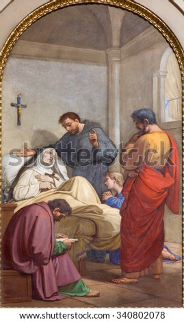 ROME, ITALY - MARCH 27, 2015: The fresco of Death of st. Monica the mother of st. Augustine in Basilica di Sant Agostino (Augustine) by by Pietro Gagliardi from 19. cent.   - stock photo