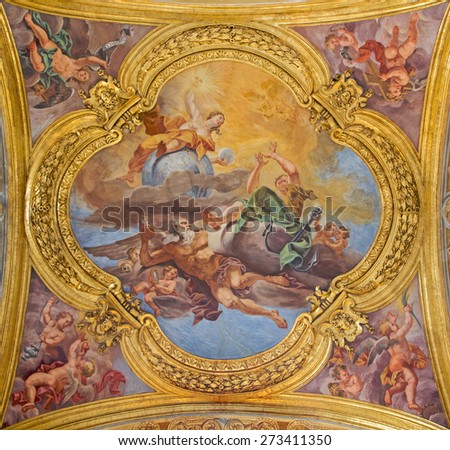 ROME, ITALY - MARCH 25, 2015: The fresco of virtues of Hope and Truth on the little cupola of side nave in church Basilica dei Santi Ambrogio e Carlo al Corso by Pio Paolini from (1678 - 81) - stock photo