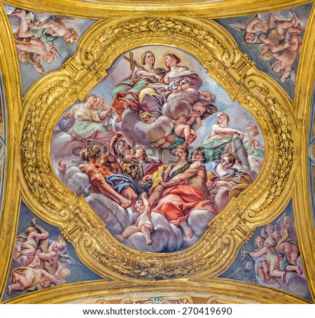 ROME, ITALY - MARCH 25, 2015: The fresco of virtues Religion, Fortitude, Purity and Chastity on cupola of side nave in  Basilica dei Santi Ambrogio e Carlo al Corso by G. B. Benaschi (1636 - 1688). - stock photo