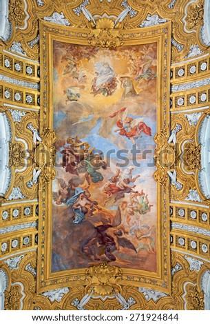 ROME, ITALY - MARCH 25, 2015: The fresco The Fall of the Rebelious Angels on the vault of nave by Giacinto Brandi in baroque church Basilica dei Santi Ambrogio e Carlo al Corso. - stock photo
