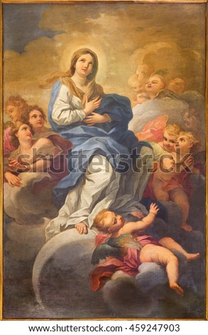 ROME, ITALY - MARCH 9, 2016: The Immaculate Conception painting in church Chiesa di San Silvestro in Capite by Lucovico Gimignani  (1695 - 1696).