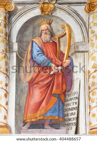 ROME, ITALY - MARCH 11, 2016: The king David fresco in church Basilica di San Vitale by Tarquinio Ligustri (1603).