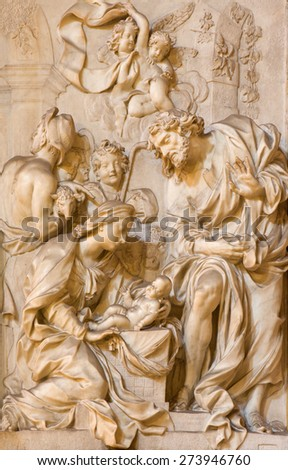 ROME, ITALY - MARCH 24, 2015: The marble relief of Adoration by the Shepherds in church Chiesa di Santa Maria della Vittoria by Etienne Monnot (1657 - 1733). - stock photo