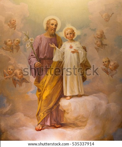 ROME, ITALY - MARCH 12, 2016: The paint of St. Joseph by E. Ballerini (1941) in church Chiesa di Nostra Signora del Sacro Cuore.