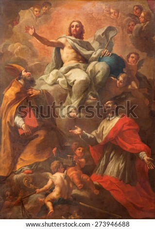 ROME, ITALY - MARCH 25, 2015: The painting of Christ with the sts. Ambrose and Charles by Pier Francesco Mazzuchelli (1571 - 1626)  in baroque church Basilica dei Santi Ambrogio e Carlo al Corso. - stock photo
