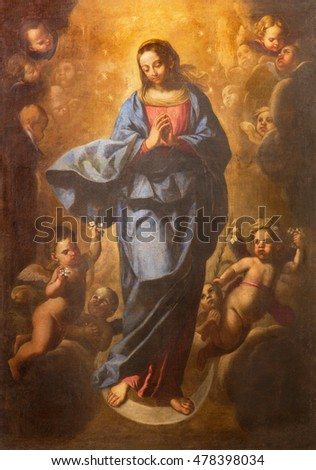 ROME, ITALY - MARCH 10, 2016: The painting of Immaculate Conception in basilica di San Marco by unknown artist.