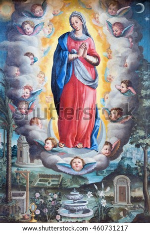ROME, ITALY - MARCH 11, 2016: The painting of Immaculate Conception in church Basilica di San Vitale by Giovanni Battista Fiammeri ( 1530 - 1606).