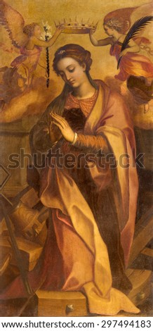 ROME, ITALY - MARCH 26, 2015: The painting of st. Katherine in chapel of st. Katherine of Alexandria by Marcello Venusti (1550 - 1560) in Basilica di Sant Agostino (Augustine).