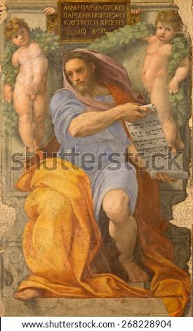 ROME, ITALY - MARCH 27, 2015: The prophet Isaiah fresco in Basilica di Sant Agostino (Augustine) by Raffaello form year 1512. - stock photo