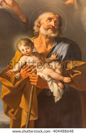 ROME, ITALY - MARCH 11, 2016: The St. Joseph painting by A. Milani (18. cent.)  in church Basilica di Santi Giovanni e Paolo by unknown artist of 18. cent.