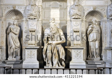 ROME, ITALY - MARCH 16, 2016: The statue of Moses sculpted by Michelangelo is visited daily by crowd of tourists in the San Pietro in Vincoli church
