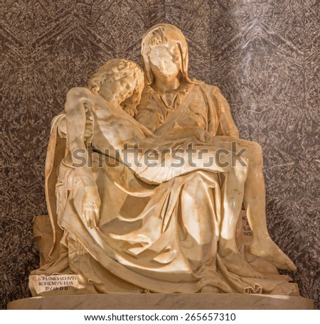 ROME, ITALY - MARCH 27, 2015: The statue of Pieta in church Santa Maria dell Anima by Lorenzo Lotti (nickname Lorenzetto - 1490 - 1541) as the copy of Michlangelo work in st. Peters basilica. - stock photo