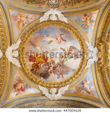 ROME, ITALY - MARCH 12, 2016: The symbolic fresco of angels with the crown and guitar on the side cupola in Chiesa di Santa Maria del Orto by Giovanni Battista Parodi (1674 - 1730).