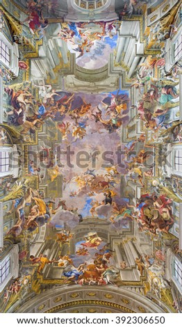 ROME, ITALY - MARCH 10, 2016: The vault baroque fresco The Apotheosis of St Ignatius by jesuit frater Andrea Pozzo (1685) in church Chiesa di Sant' Ignazio.