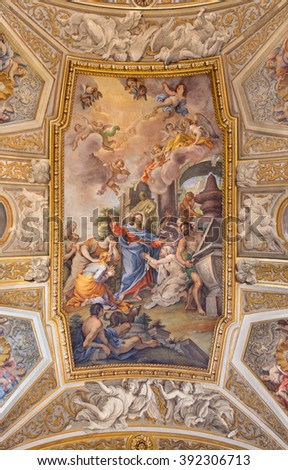 ROME, ITALY - MARCH 9, 2016: The vault fresco The Raising of Lazarus at the Prayer of His Sister Mary in church Chiesa di Santa Maria Maddalena in Campo Marzio by Michelangelo Cerruti (1663 - 1749).