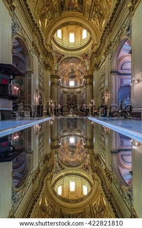 ROME, ITALY - 3 MAY 2016 - A visit at 'Sant'Andrea della Valle', a basilica church in the rione of Sant'Eustachio. The Basilica is the general seat for the catholic religious order of the Theatines.