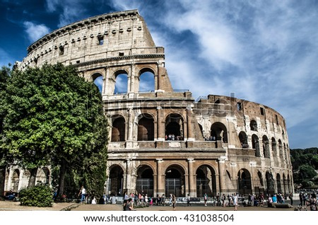 Rome, Italy - May 28, 2016: Amphitheatre Flavio in Rome, more commonly known as Colosseum