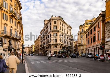 ROME, ITALY - MAY 7, 2016: Architecture of the Historic Center of Rome, Italy. Rome is the capital of Italy and a popular touristic destination