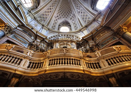 ROME, ITALY - MAY 22, 2016: baroque Pipe organ in the Saint Mary of the Prayer and Death Church