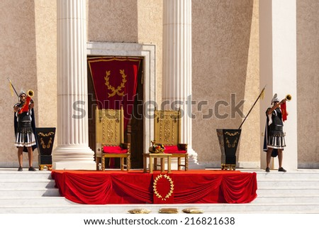 ROME, ITALY, MAY 26 2014: Birth of Rome festival - performing fight of gladiators and all other ancient ceremony, the parade of 2,000 actors from 11 European countries., Rome on May 26, 2014 - stock photo