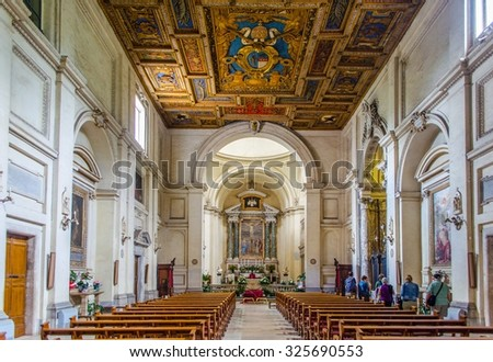 ROME, ITALY, MAY 30, 2014: church of san sebastiano situated near via appia in rome hosts ancient catacombs which served as christian cemetery, when those believers were persecuted by romans.