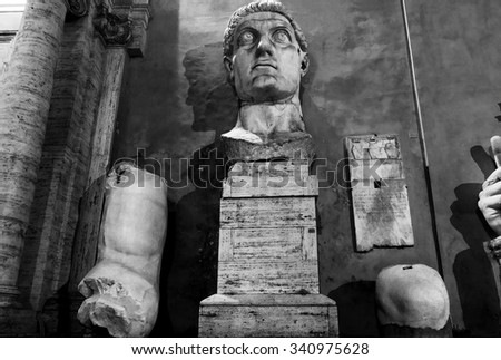 ROME, ITALY - MAY 16, 2015: colossal statue of the late Roman emperor Constantine the Great on the Capitoline Hill - stock photo
