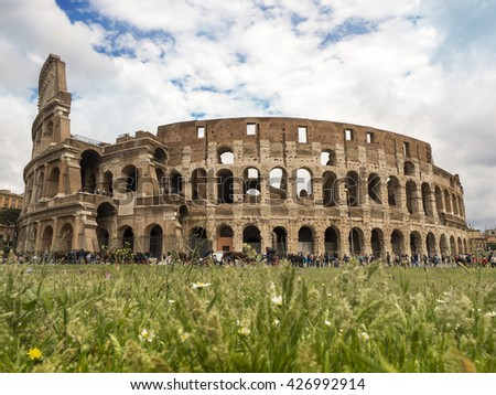 Rome, Italy - May 2016: Colosseum in spring in Rome, Italy