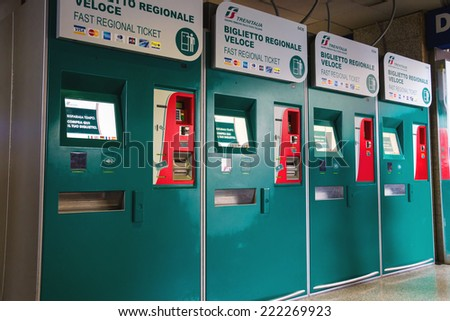 ROME, ITALY - MAY 03, 2014: Commuter ticket offices at Termini in Rome, Italy