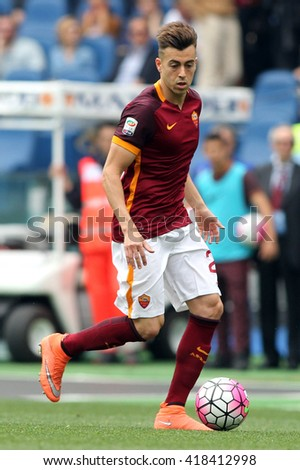 "ROME, ITALY - MAY 2016 : El Shaarawy in action  during fotball match  of Italian League ""Serie A"" between A.s. Roma  vs Chievo at the Olimpic Stadium  on May 8, 2016 in Rome.