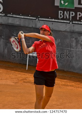 ROME, ITALY - MAY 13: Flavia Pennetta trains at Internazionali BNL on May 13, 2012 in Rome, Italy - stock photo