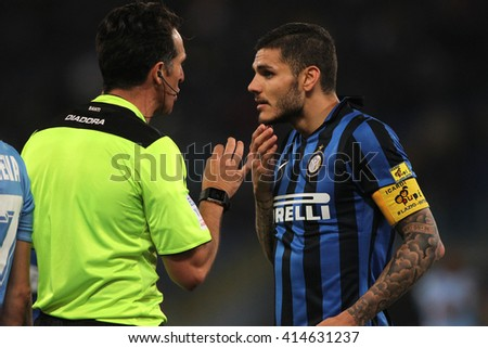 "ROME, ITALY - MAY 2016 :  Icardi during fotball match  of Italian League ""Serie A""  between Lazio vs Inter at the Olimpic Stadium  on may 1,  2016 in Rome."