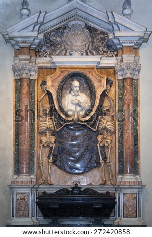 ROME, ITALY - MAY 20, 2014: Interior of Santa Maria in Campitelli fish-eye interior view church dedicated to the Virgin Mary on the Piazza di Campitelli in Rione Sant'Angelo - stock photo