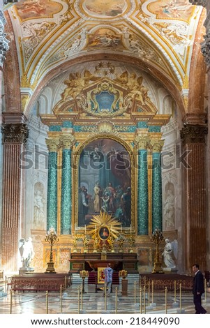 ROME, ITALY - MAY 8, 2014: Interior of the Basilica of St. Mary of the Angels and the Martyrs (Santa Maria degli Angeli e dei Martiri), built inside the Baths of Diocletian by Michelangelo. - stock photo