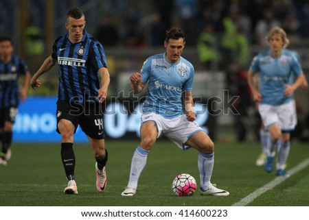 "ROME, ITALY - MAY 2016 :  Klose and Perisic in action during fotball match  of Italian League ""Serie A""  between Lazio vs Inter at the Olimpic Stadium  on may 1,  2016 in Rome."
